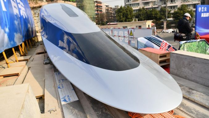 cin introduces its maglev train prototype capable of speeding in kilometers per hour