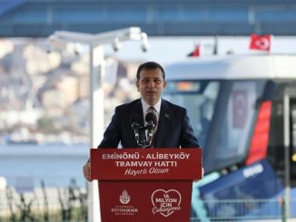 Cibali alibeykoy part of eminonu alibeykoy tram line was opened