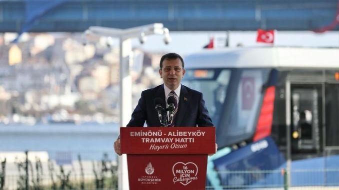 Cibali alibeykoy part of eminonu alibeykoy tram line was opened