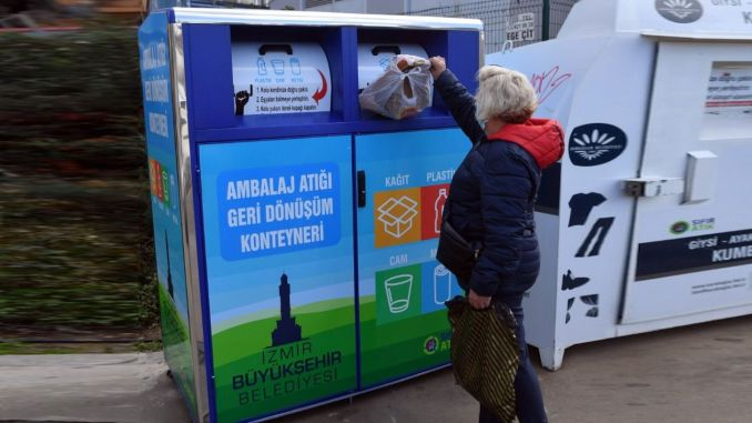 Recycling containers are placed in Izmir for packaging waste.