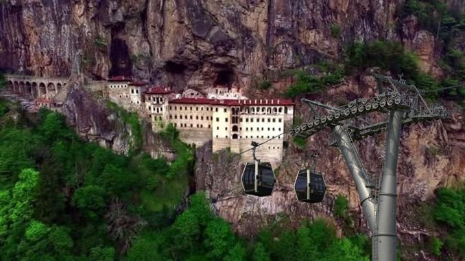 The cable car project of the Sumela monastery has been completed.