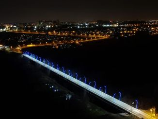 university bridge is illuminated