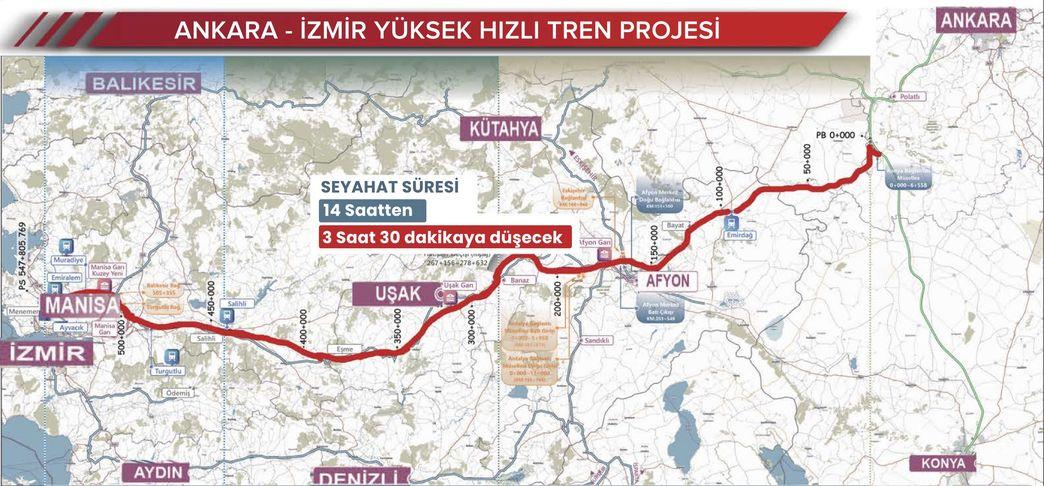 Ankara Izmir YHT Map