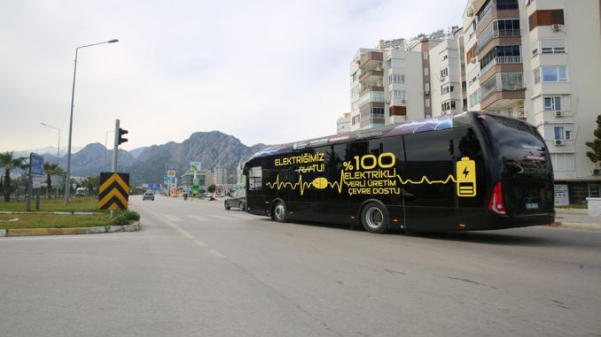 the Italian electric bus on the road