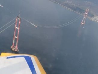 Asian aviation canakkale bridge seen from the air
