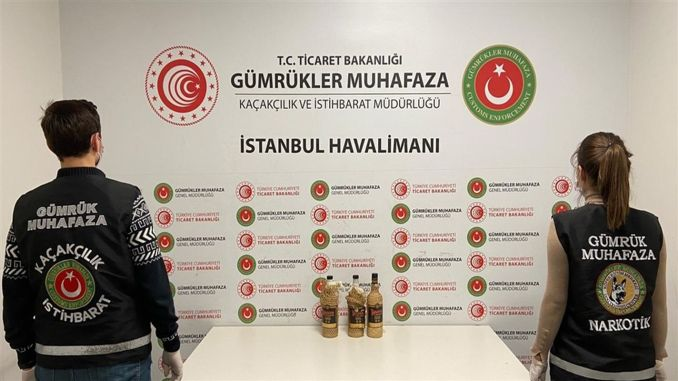 Liquid cocaine seized in beverage bottles at Istanbul airport