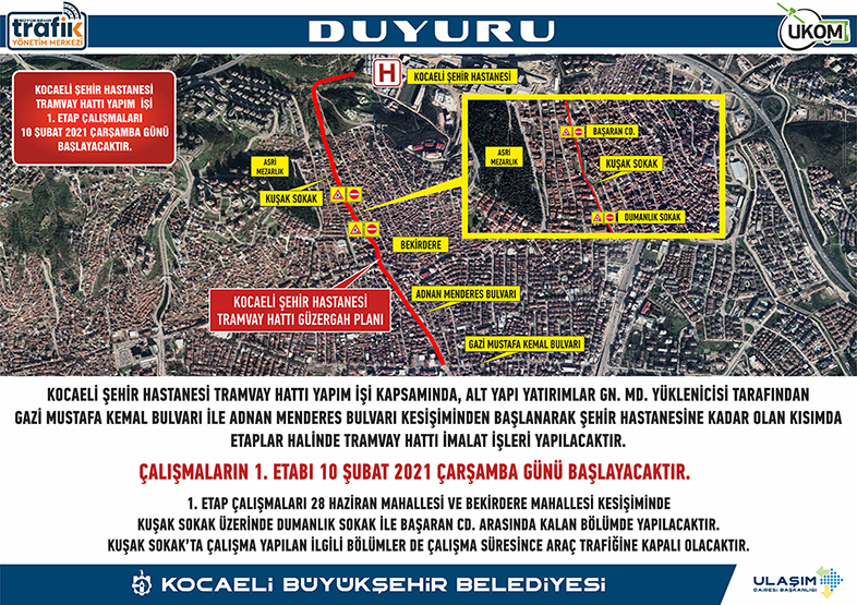 The road will be closed for the Kocaeli City Hospital tram line