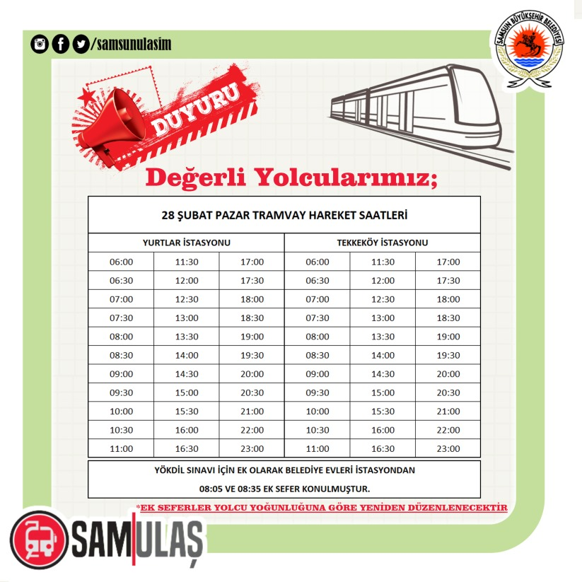 in samsunda february weekend tram hours