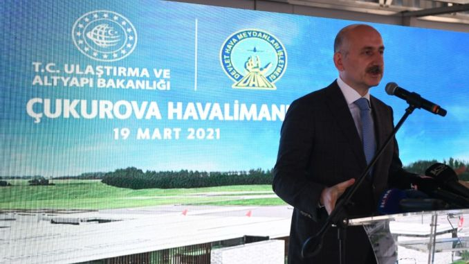 Percent of cukurova airport infrastructure construction completed