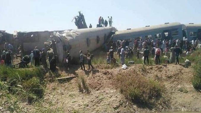 Two train crews were injured in Egypt.