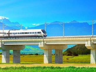 Construction work continues on the high-speed train line of kilometers