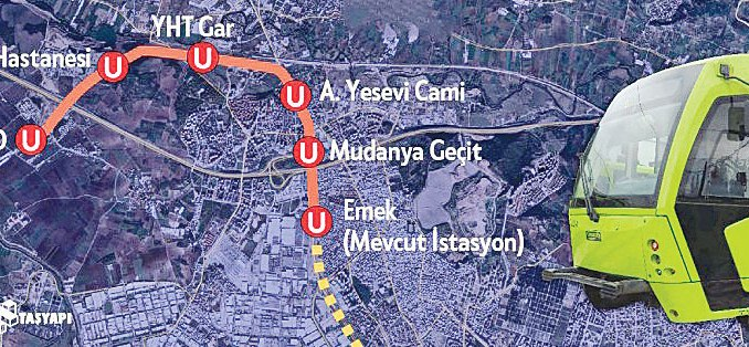 Emek Sehir Hospital Metro Route