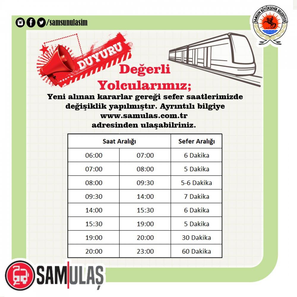 Samsun Tram Timetable