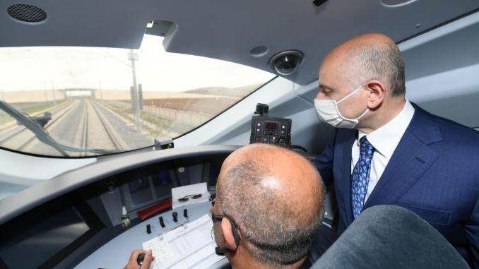 minister karaismailoglu konya karaman attended high speed train test drive