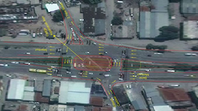 traffic regulation at the Bursa Besyol intersection