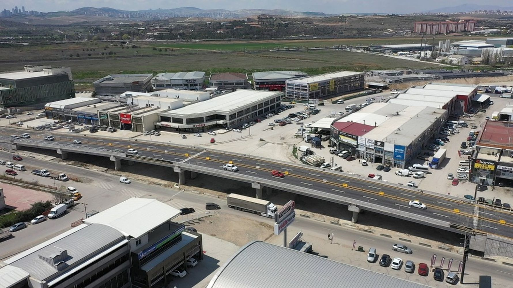 First crossroad with bridge opened to traffic on sasmaz industrial boulevard