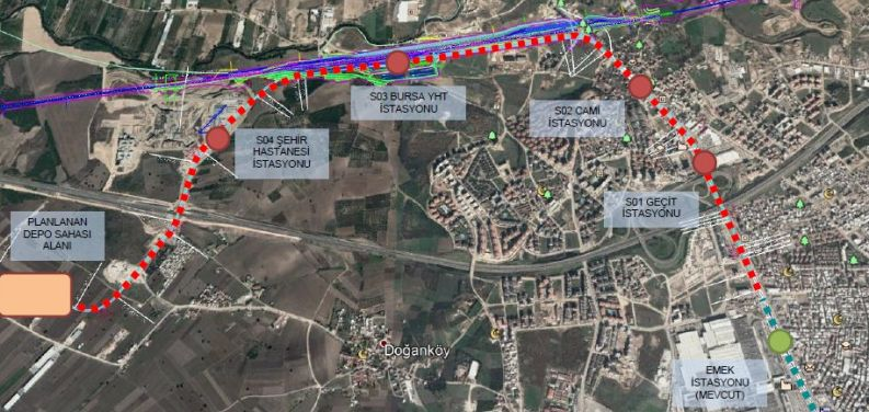 Ruta metroa i stanice gradske bolnice Bursa