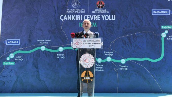 Minister Karaismailoglu visited Cankiri Cevre Yolu Santiye