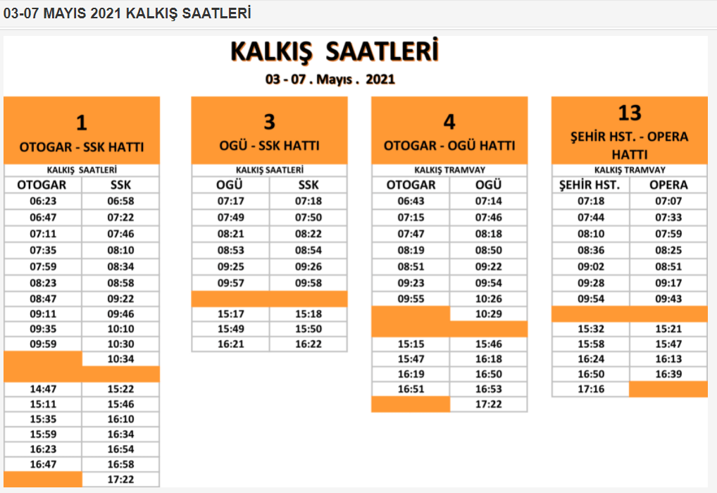 change in eskisehir tram times