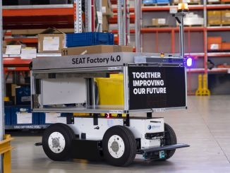 Intelligent mobile robots at work at seat martorell factory