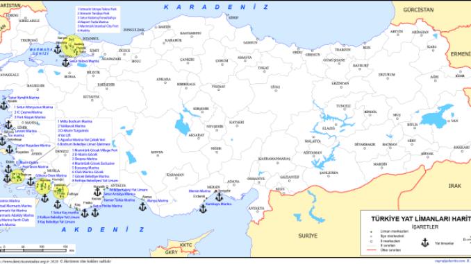 mapa de puertos deportivos de turquía