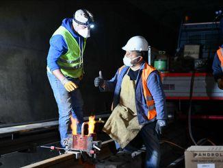 ulus sihhiye metro istasyonlari arasinda asinan raylar yenilendi