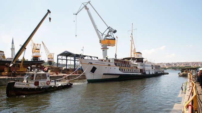 annual historical fenerbahce ferry entered into maintenance at Halic shipyard