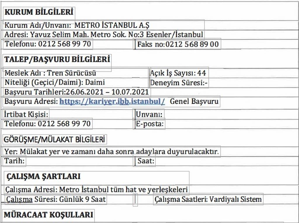 Metro Istanbul Personnel Recruiter