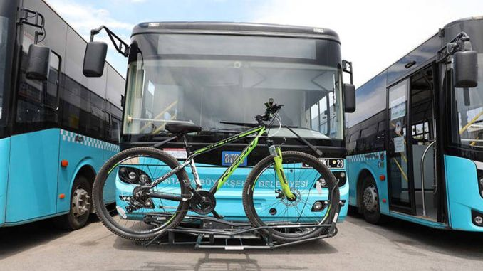 sensor application to buses with bicycle carrying apparatus in antalya