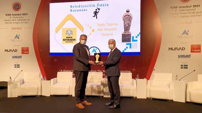 public transport line management system of konya metropolitan city received an award