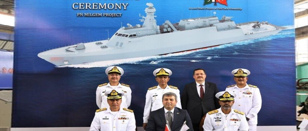 Sheet metal cutting ceremony held in pakistan for the third of milgem corvettes