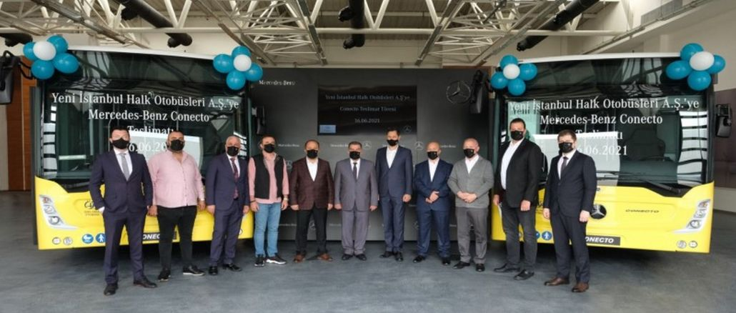new istanbul public busses as one mercedes benz conecto solo delivered