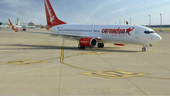 corendon airlines is positioning a plane at basel airport