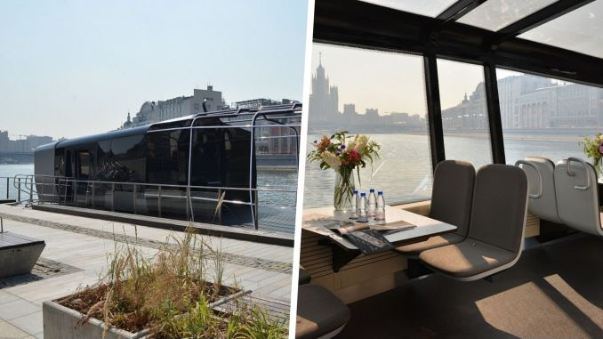 river tram arrives in moscow