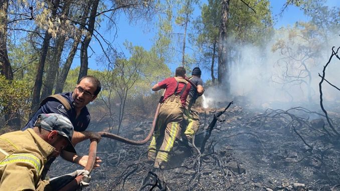 ibb fire department is fighting fires in manavgat marmaris and basement