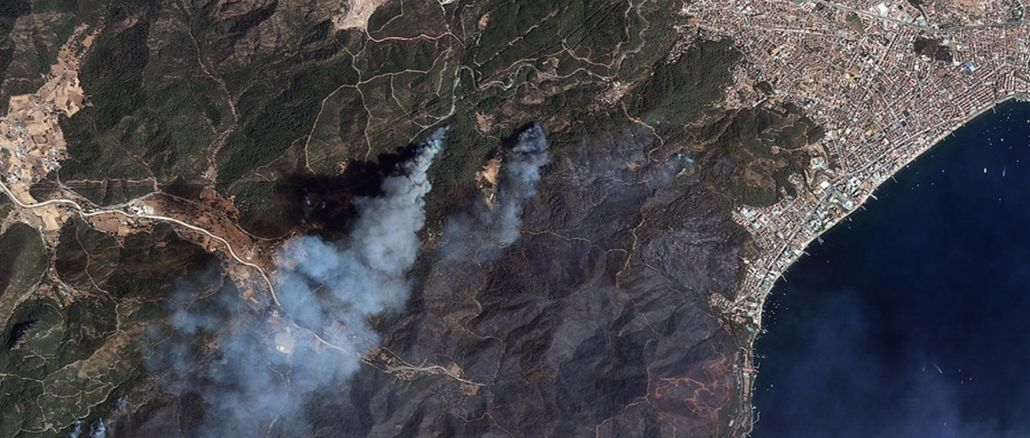forest fires in marmaris and manavgat viewed from space