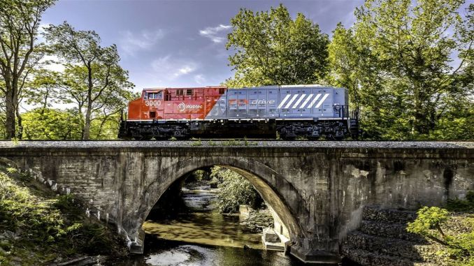 The world's first fully electric freight train has landed on the rails in the USA