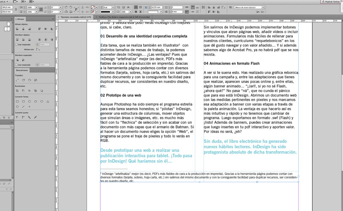 Como resultado obtenemos una distribución de las notas al pie de página más estética. ¡Bien!