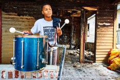 Drumming in the ruins.