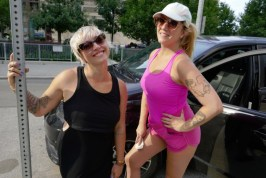 Casie Stewart with Raymi on Scollard St before rock climbing