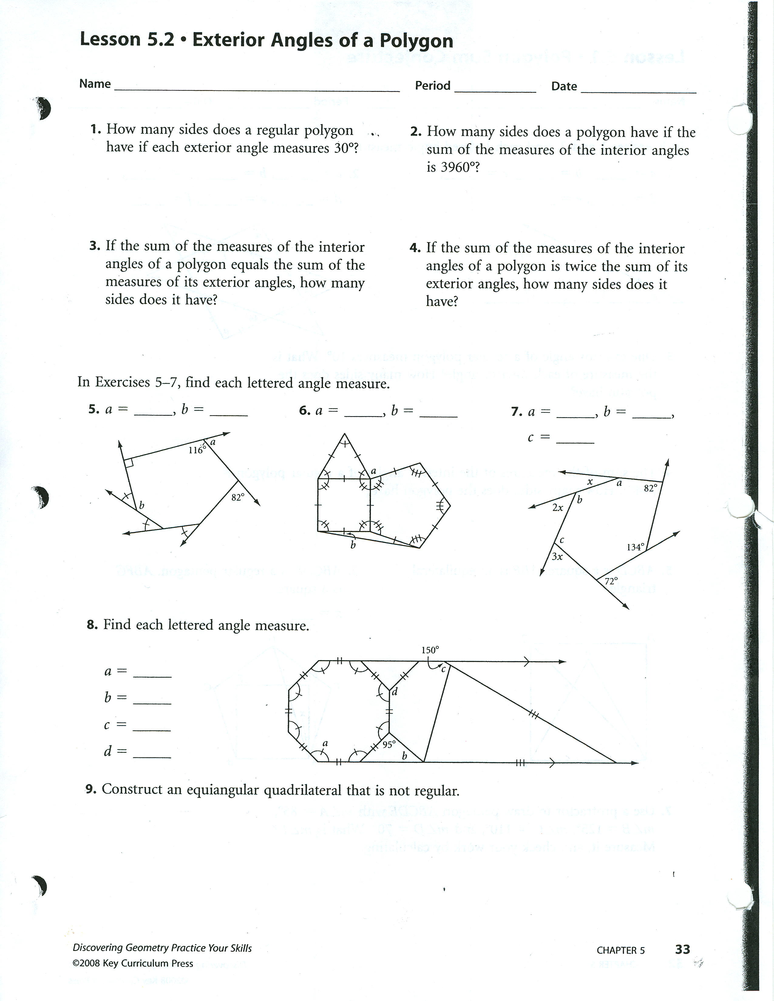 Angles In Quadrilaterals Trig Graph Paper