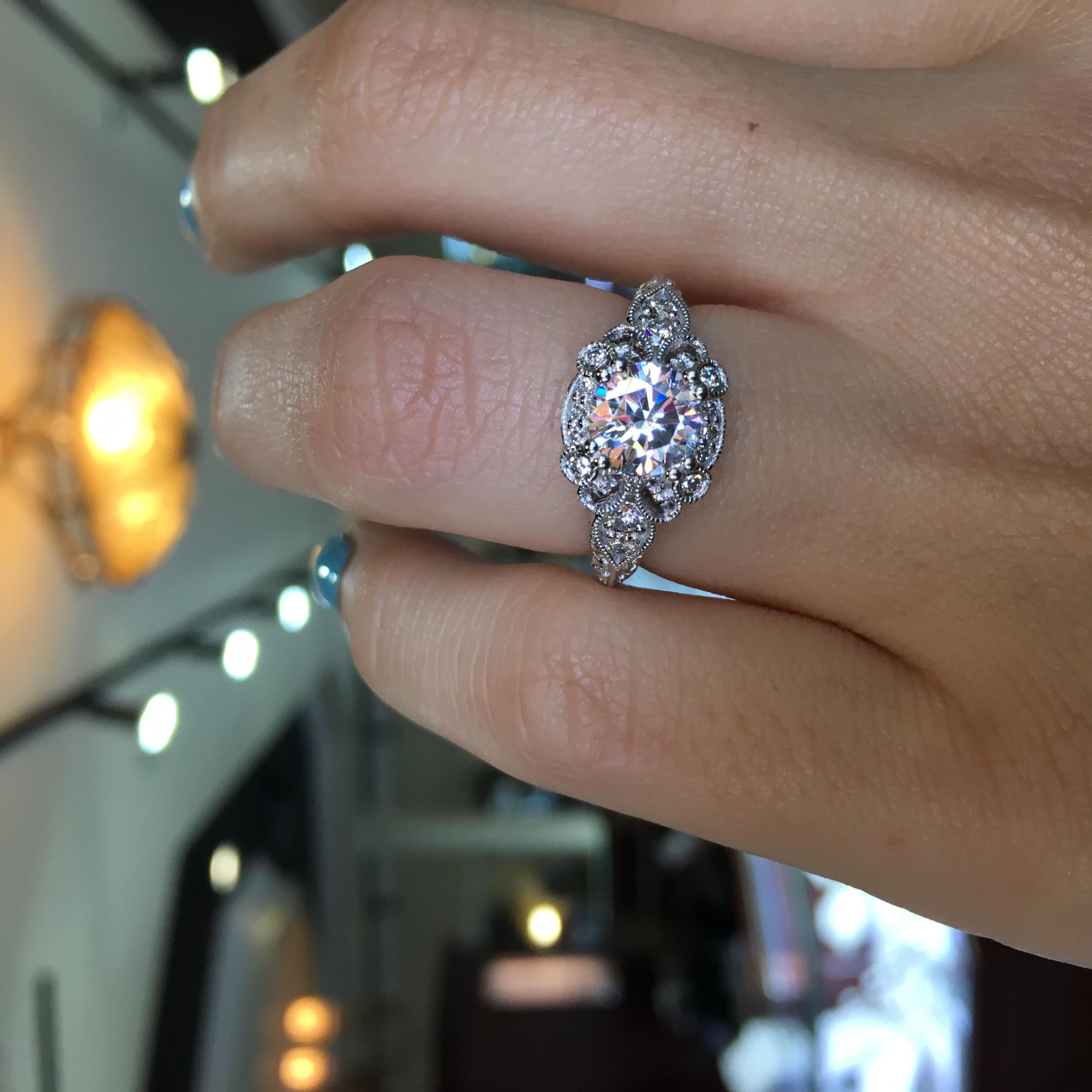 Gabriel Amp Co Engagement Rings Floral Halo 50 Accent Diamonds