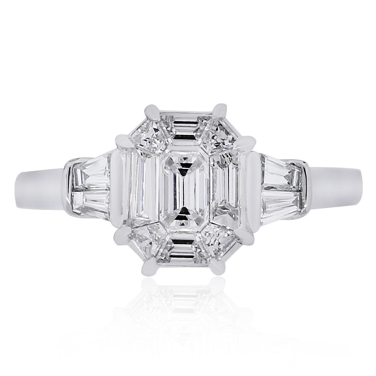 18k White Gold 113ctw Baguette Emerald Diamond Illusion Ring