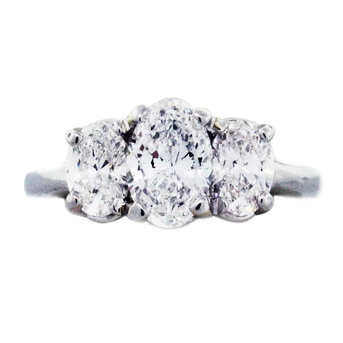 Platinum And Diamond Three Stone Oval Engagement Ring
