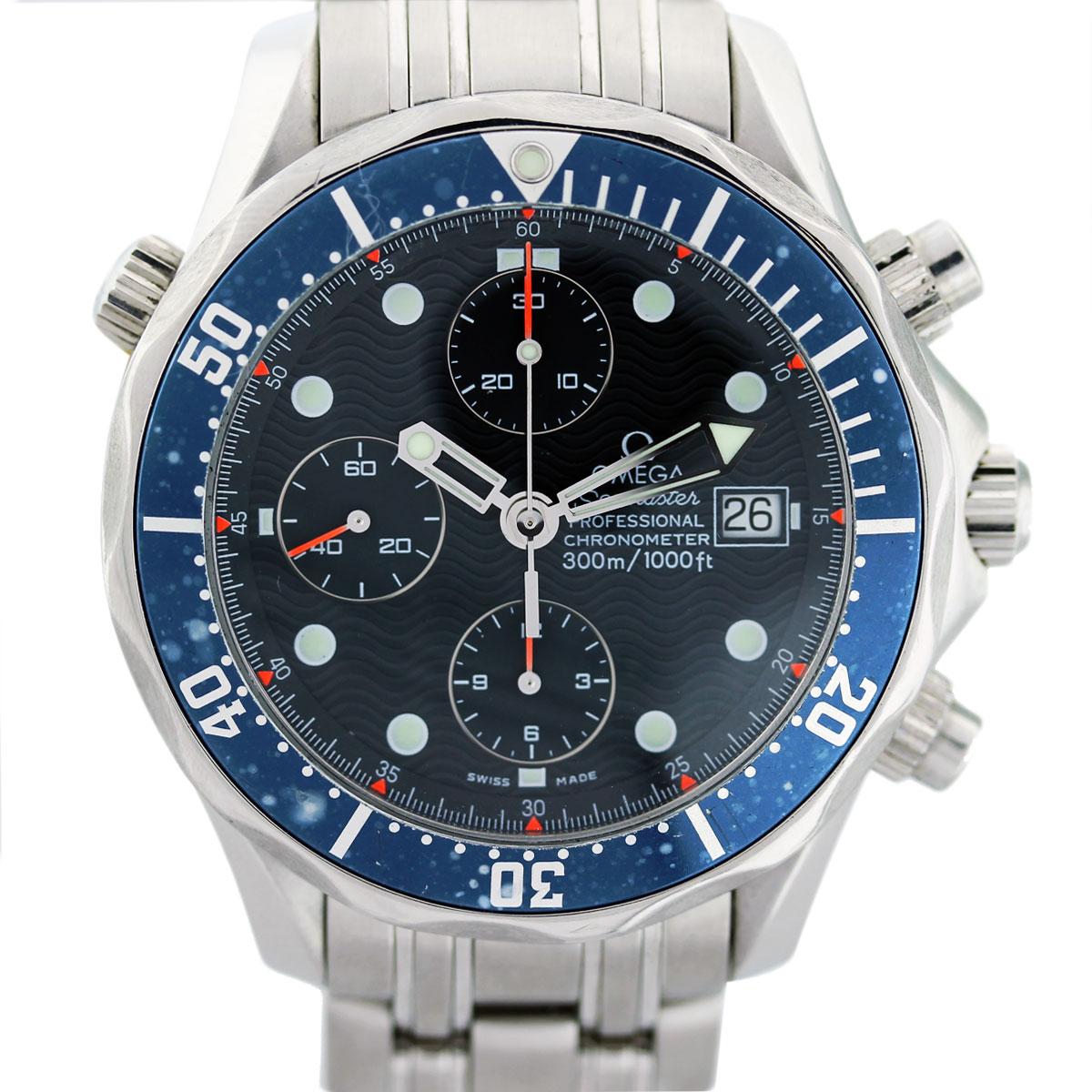 Omega Seamaster Chronograph Blue Bezel Mens Watch