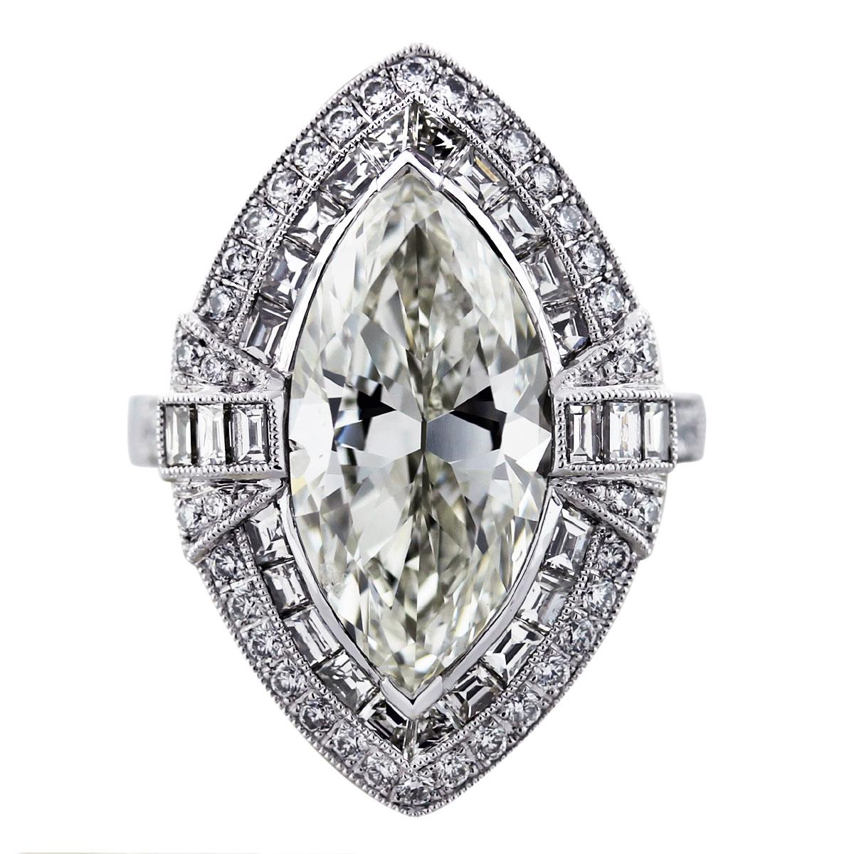 5 Carat Marquise Cut Diamond Platinum Engagement Ring Boca