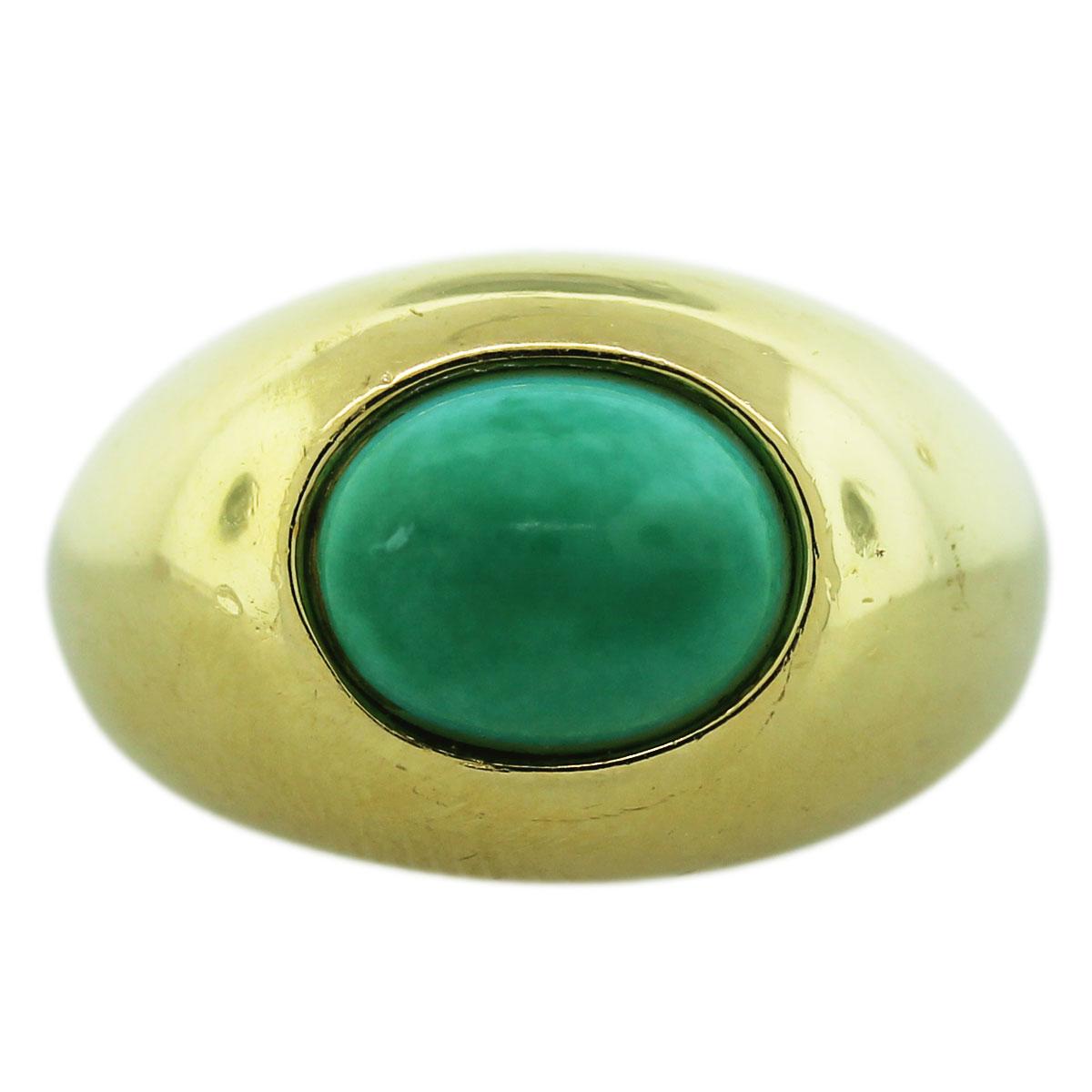 18K Yellow Gold Turquoise Cabochon Mens Ring Boca Raton