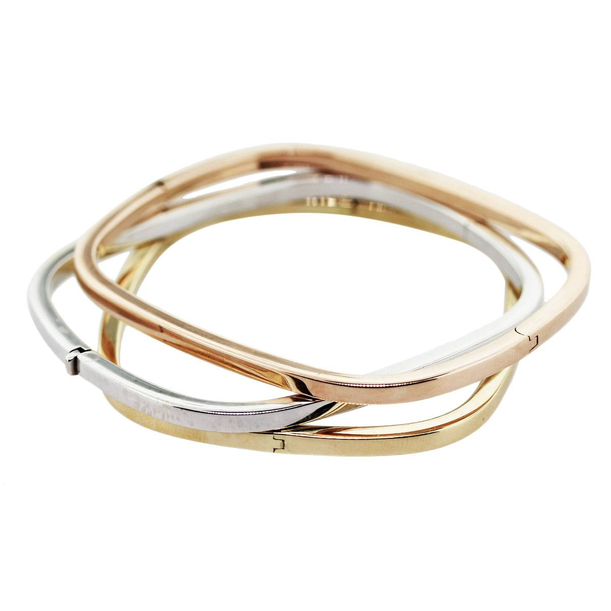 18K Tri Color Gold Square Bangle Bracelet Set Boca Raton