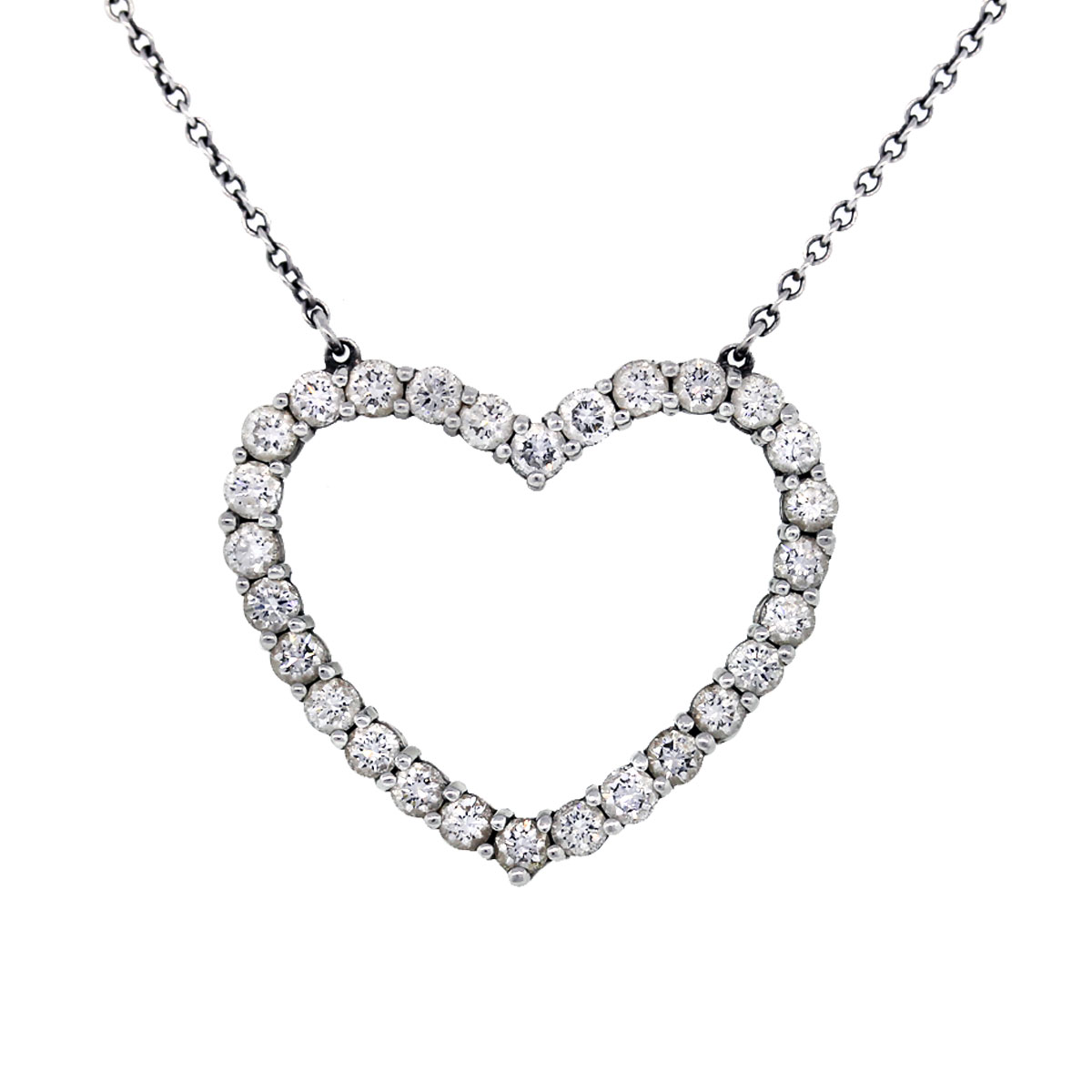 Tiffany Amp Co Platinum Diamond Heart Pendant On Chain Boca