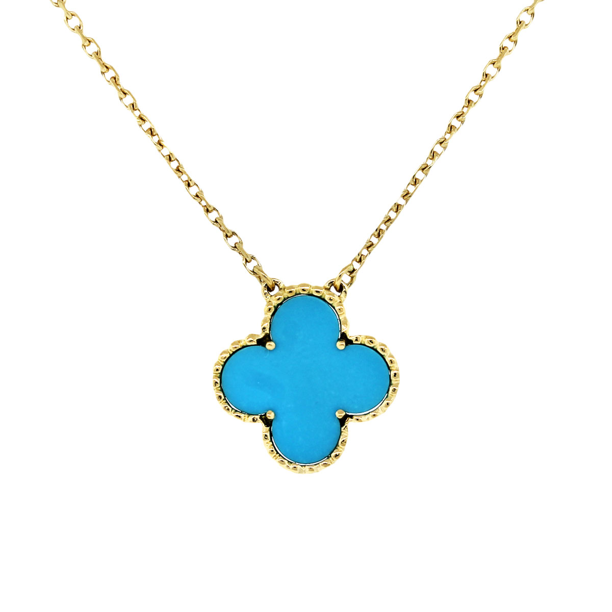 Van Cleef and Arpels Single Alhambra Turquoise Necklace-Boca Raton